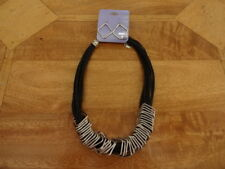 BNWT Claire's Necklace & Earring Set - Black Multi Rope Silver Metal Square