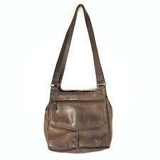 VTG Fossil Leather Crossbody Brown Double Strap Messenger Pockets