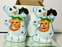 2 HALLOWEEN GHOST CERAMIC TEALIGHT CANDLE HOLDER FIGURINES SEE PHOTOS