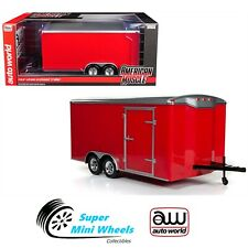 Auto World 1:18 American Muscle - Four Wheel Enclosed Trailer (Red)