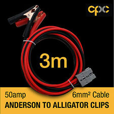 Alligator Battery Clamp 50A ANDERSON PLUG style Cable 4x4 4WD Van 3m solar 12v