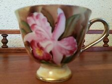 Enesco Cup Pink Lily floral Pattern Yellow footed cup Gold Trim Numbered E 1432