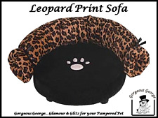 BRAND NEW LEOPARD PRINT SOFA DOG BED FOR SMALL TEA CUP DOGS - NOW ONLY £9.99