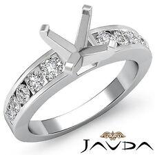 Diamond Engagement Asscher Semi Mount Ring Channel Setting Platinum 950 0.7Ct