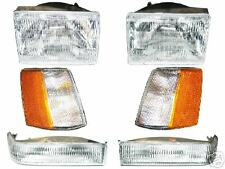 93-98 JEEP GRAND CHEROKEE Headlight Marker Turn Signal Set 6 Light Front Lamp NR