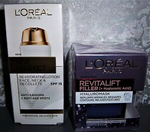 L'OREAL AGE PERFECT RE-HYDRATING LOTION 50ML + REVITALIFT HYALUROMASK 50ML NEW
