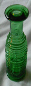 Vintage Green Ridged Glass Bottle Single Stem Vase  7 inches in height
