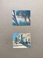 Georg Schott *1906 Küste Strand mit Palmen Mittelmeer Dorf Esel 2 Aquarelle