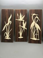 3 Vintage MCM Wood and Plastic Birds Wall Hanging Lake Wales, Fla Singing Tower