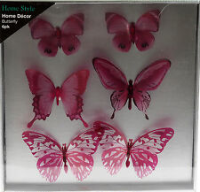 Set Of 6 Hot Pink Butterfly Wall Art 3D Stickers - Transparent Wings