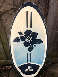 "Vintage Wave Action Wooden Skim Boogie Board Triangle 41"" Beach Ocean Lake"