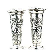 Antique Victorian Sterling Silver Vases Repousse Floral Sheffield 1898