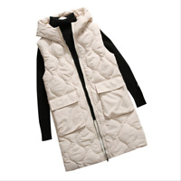 Womens Down Cotton Sleeveless Waistcoat Puffer Coat Jacket Long Vest Parka VEST