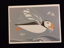 "Charley Harper Pomegranate Art Postcard ""The Name Is Puffin"" New Frame It!"