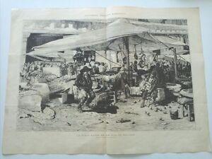 1885 Xilografía: La Plaza Mayor en los dias de Navidad Costumbres Madrileñas