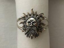 Cuff Bracelet Vintage 925 Sterling Silver Helios Greek God Of Sun Head
