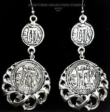 ORECCHINI MONETE ARGENTO FORTUNA MITI MAGNA GRECIA SILVER COINS PIECES EARRINGS