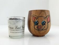 Bamboo Cup with Wood burned Colored Pig and 100% Soy Votive Candle