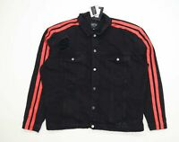 Boohoo Mens Size 5XL Denim Striped Black Distressed Jacket