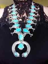 Navajo Squash Blossom Necklace Morenci Blue Turquoise Silver Signed Platero USA