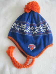 NY KNICKS ADIDAS KNIT WINTER HAT NBA BASKETBALL FLEECE LINED CAP ORANGE POMPOM