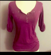 women 3/4 sleeve purple top size S