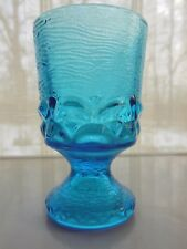 Contemporary Glass Blue  7 ounce Footed Tumbler Goblet