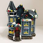 """Vintage Candle 6"""" Christmas House Blue Victorian Decorated Holiday Home Unburned"""