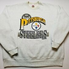 Vtg Trench NFL Pittsburgh Steelers Mens Sweatshirt XL Gray Spell Out USA 90s T27