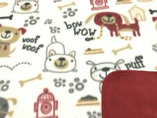 """Dog Blanket Dogs Bones Fire Hydrants Dog Houses Paws Can Be Personalized 28x44"""""""