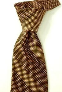 $450 Stefano Ricci Pleated Satin Black w/ Gold & Red Geometric Silk Neck Tie NWT