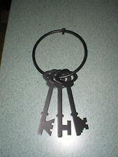 "Black Wall Decor 3 Skeleton Keys 6"" Ring Vintage Look 12"" Long"