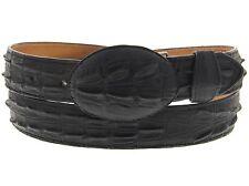 Mens Black Western Cowboy Belt Crocodile Alligator Tail Pattern Leather Cinto