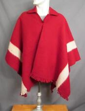 Vintage 1940s Wool Trade Blanket Poncho w/ Collar Deep Red White Stripe Serape