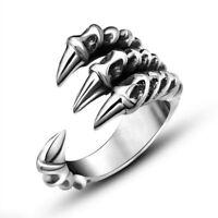 Men's Titanium Steel Charm Fashion Gothic Punk Skull Head Biker Finger Rings U