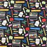 "Teachers,back to school kids cotton  Fabric by the FQ 18"" x 22"",kids masks"