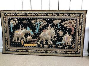 3D Large Thai / Asian Fabric Picture, Wall Hanging, Mounted On Hardboard.
