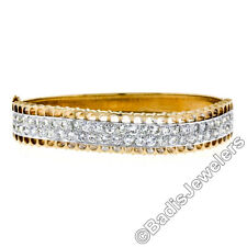 18ct TT ORO 4.25ct Puesto Pavé Ideal Talla Diamante Perforado Ondulado BISAGRA