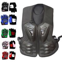 Kids Children Youth Motorcycle Body Armour Jacket Armor Gloves Motorbike Gear