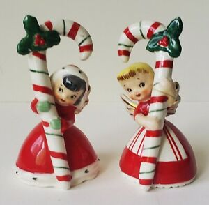2 Vtg Napco 1956 Christmas Angel Bells Girls Candy Canes Red White Damaged Crazi