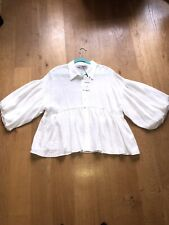 Zara Off White Ruffle Blouse Size XL BNWT