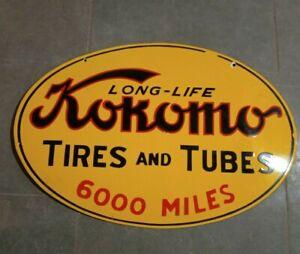 "Porcelain Kokomo Tires & Tubes Enamel Sign Size 16"" x 24"" Inches Double Sided"