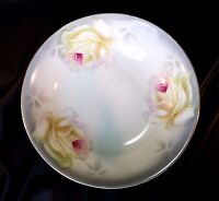 Antique Painted Porcelain Bowl PV Vessra Germany Hand Painted Roses