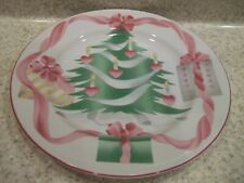 """2 Sango Home for Christmas Dinner Plates 10 1/2"""" Christmas in Center Pink Trim"""