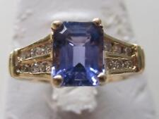 14k. Yellow Solid Gold Emerald Cut Tanzanite and Diamond Ring, Vintage