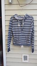 So 1/2 button Striped Navy and White Hoodie Juniors size L