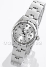 Rolex Ladies Datejust Steel Silver Diamond & 18K Gold Fluted Oyster 6917 Model