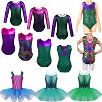 Girls Kids Mermaid Ballet Tutu Dress Dance Gymnastics Leotard Skirt Dancewear