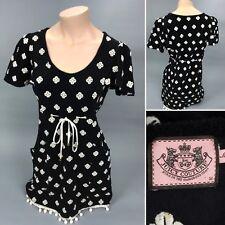 Juicy Couture Womens Black Floral Short Sleeve Blouse Knit Boho MEDIUM M Dress