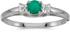 10k White Gold Round Emerald And Diamond Ring (CM-RM1575W-05)
